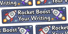 'Rocket Boost Your Writing' Display Banner