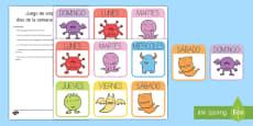 Cartas de juego temáticas: Emparejar los días de la semana - Monstruos
