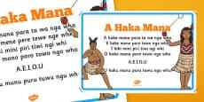 Māori Alphabet Song Display Poster A Haka Mana