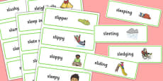 Two Syllable SL Sound Word Cards
