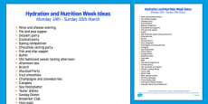 Elderly Care Hydration and Nutrition Week Ideas
