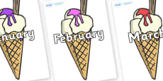 Months of the Year on Ice Cream Cones to Support Teaching on The Very Hungry Caterpillar