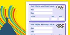 Rio 2016 Olympics Beach Volleyball Event Tickets