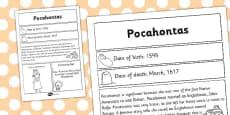 Pocahontas Significant Individual Fact Sheet