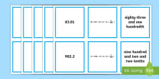 * NEW * Decimals Number Forms Matching Cards