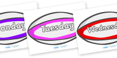 Days of the Week on Rugby Balls