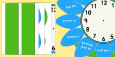 Analogue Clock Flower Labels Words