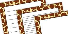 Giraffe Pattern Portrait Page Border