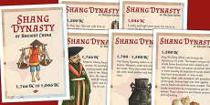The Shang Dynasty-Of Ancient China Timeline Posters