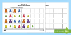 Sorting Bear Repeating Patterns Activity Sheets Arabic/English