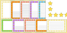 Mixed Colours Star Page Borders
