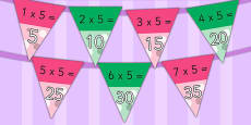 5 Times Table Bunting