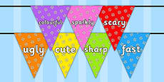 Wow Words on Bunting (Flowers1)