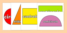 2D Shapes Display Cut Outs Spanish