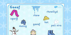 Winter Word Mat Welsh Translation