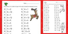 Christmas Themed Subtraction and Addition Activity Sheet