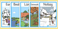 Months of the Year Seasons Posters Gaeilge