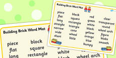 Building Bricks Therapy Word Mat