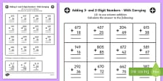 Adding 3 and 2 Digit Numbers in a Column with Carrying Answers Activity Sheet Year 3