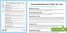 Teaching Multiplication Tables Top Tips