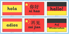 Hello and Goodbye Flags Languages Pack (A4)
