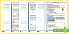 KS1 Electricity Differentiated Reading Comprehension Activity