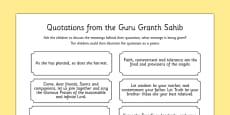 Guru Granth Sahib Quotes Discussion Activity