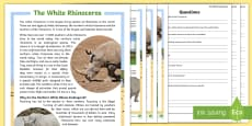 The White Rhinoceros Differentiated Reading Comprehension Activity