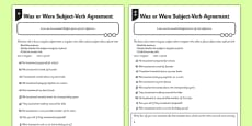 Was or Were Subject Verb Agreement Differentiated Activity Sheet Pack