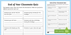 End of Year Classmate Quiz Activity Sheet