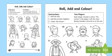 My Family Roll and Colour Activity Sheet