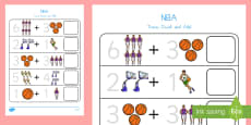 Basketball Themed Trace, Count and Add Activity Sheet