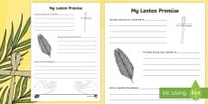 My Lenten Promise Activity Sheet