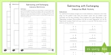 Subtracting with Exchanging Interactive Math Activity