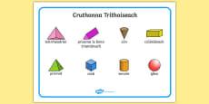 3D Shape Word Mat Gaeilge
