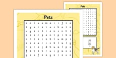 French Pets Word Search