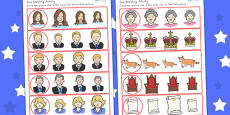 Australia - Royal Family Size Matching Activity Sheets