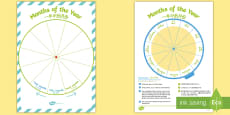 * NEW * Months of the Year Sequencing Wheel Display Pack English/Mandarin Chinese
