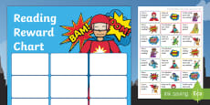 * NEW * KS1 Superhero Themed Reading Sticker Reward Charts