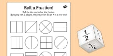 Year 1 Roll a Fraction Activity Sheet