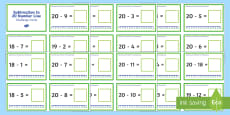 Subtraction Up to 20 with a Number Line Challenge Cards