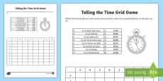 Telling the Time Grid Activity Sheet German