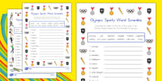 Olympic Sports Differentiated Word Scrambles Activity Sheet