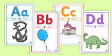 Alphabet Picture Posters Mnemonic Romanian Translation