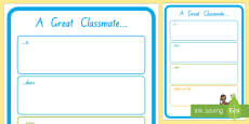 A Great Classmate Is... Activity