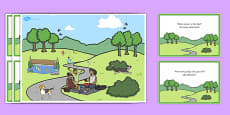Park Scene and Question Cards Romanian Translation