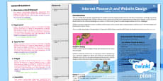 PlanIt - Computing Year 5 - Internet Research and Webpage Design Planning Overview