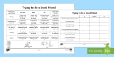 Am I a Good Friend Quiz Sheet