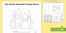 Jack and the Beanstalk 2D Shape Search Activity Sheets