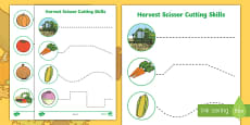 Harvest Themed Cutting Skills Activity Sheets
